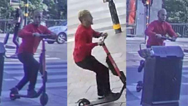 Man på elscooter slog polis i ansiktet – efterlyst med bild