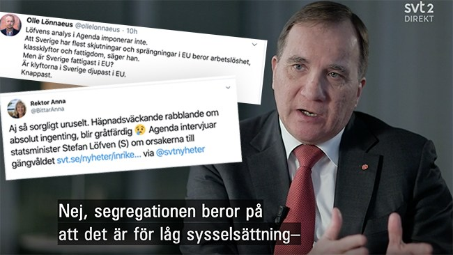 """Reaktionerna efter Löfvens katastrofintervju: """"Sorgligt uruselt"""""""
