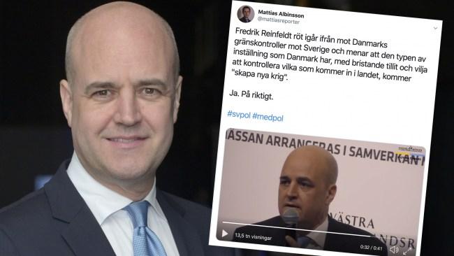 """Reinfeldt till attack på Danmark för gränskontrollerna: """"Kommer bara att skapa nya krig"""""""