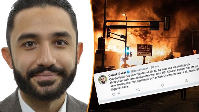 Riazats (V) annorlunda konspirationsteori om USA-kravallerna: Civilpoliser slår sönder butiker