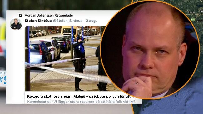 """Morgan Johansson (S) retweetar om """"rekordfå skottlossningar"""" i Malmö"""
