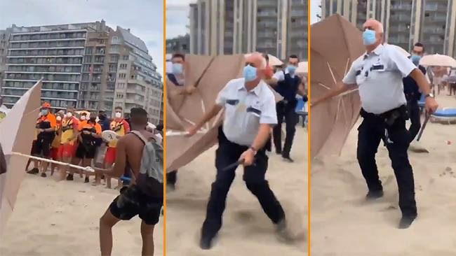 Upplopp på belgisk strand – polis attackerades med parasoll