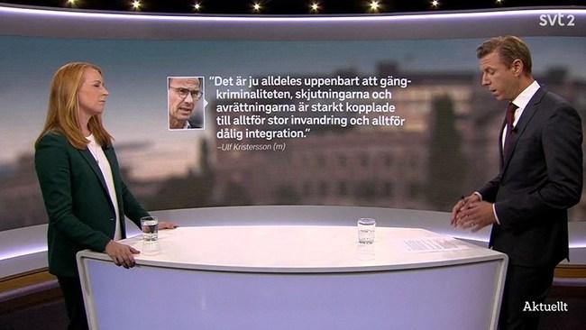 Lööf (C) vägrar svara på fråga om kopplingen mellan invandring och kriminalitet