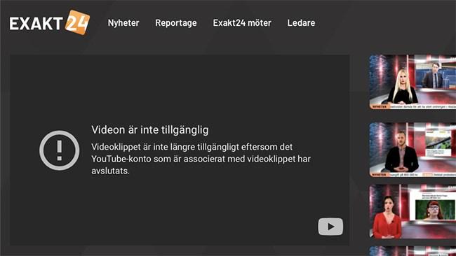 Alternativmediet Exakt24 avstängt från Youtube