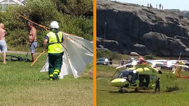 Äldre man döms för parasollkast mot ambulanshelikopter